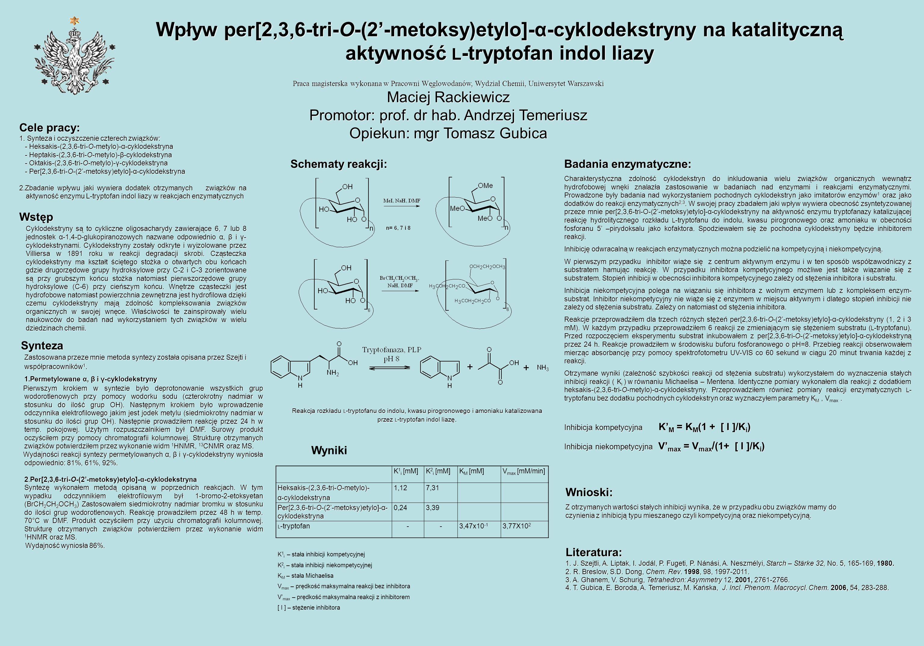 Wpływ per[2,3,6-tri-O-(2'-metoksy)etylo]-α-cyklodekstryny na katalityczną aktywność L-tryptofan indol liazy